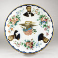 Political:3D & Other Display (pre-1896), Abraham Lincoln: Stunning Multicolor China Plate...
