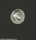 Ancients:Roman, Ancients: Augustus, 27 B.C.-14 A.D., AR denarius (3.91 gm.),Lugdunum mint, Laureate head right/Caius and Lucius Caesarsstanding on e...