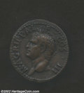 Ancients:Roman, Ancients: Agrippa, Died 12 B.C., AE as (10.91 gm.), Struck byTiberius or Caligula, 14-41 A.D., Head left wearing rostralcrown/Neptun...