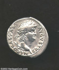 Ancients:Roman, Ancients: Nero, 54-68 A.D., AR denarius (3.28 g), 63/64 A.D.Laureate head right/ Concordia, holding patera, cornucopia, seatedleft. ...