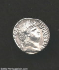 Ancients:Roman, Ancients: Nero, 54-68 AD, AR denarius, (2.8 gm.) Laureate headright/Salus seated left, holding patera. C. 316. R.I.C. 7. B.M.C.98. X...