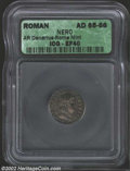 Ancients:Roman, Ancients: Nero, 54-68 A.D., AR denarius, 65/6 A.D., Laureate headright/Jupiter seated left, RIC 64, EF 40 ICG, deep gray toning. ...