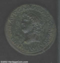 Ancients:Roman, Ancients: Nero, 54-68 AD, Æ sestertius, (24.1 gm.)Laureate headright/Nero galloping right, accompanied by soldier galloping besidehi...