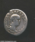 Ancients:Roman, Ancients: Galba, 68 -69 AD, AR denarius, (2.9 gm.). Virtus, naked,standing facing, holding sword or parazonium and spear, R.I.C. 26,...