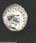 Ancients:Roman, Ancients: Vespasian, 69-79 AD, AR denarius, (3.3 gm.) Laureate headright/Judaea seated right at foot of trophy. C. 226. R.I.C.266.B....