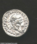 Ancients:Roman, Ancients: Vespasian, 69-79 AD, AR denarius, (3.4 gm.) Struck byTitus, Laureate head right/Victory standing left, Placing shield ontr...