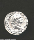 Ancients:Roman, Ancients: Vespasian, 69-79 AD, AR denarius, (3.4 gm.) Struck byTitus, Laureate head right/S.C. on shield supported by twoCapricorns ...