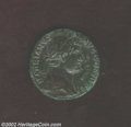 Ancients:Roman, Ancients: Hadrian, 117-138 A.D., AE sestertius (24.44 g). Laureate,draped bust right/ Emperor, raising right hand, standing rightgre...