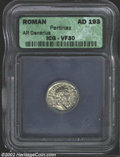 Ancients:Roman, Ancients: Pertinax, 193 A.D., AR denarius, Laureate headright/Laetitia, holding wreath, sceptre, standing left, RIC 4a, VF30 ICG, fl...