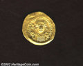 Ancients:Byzantine, Ancients: Justinian I, 527-578, AV solidus (4.44 gm.),Constantinople mint. Facing bust holding globus cruciger/Angel,holding long cr...