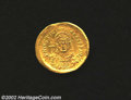 Ancients:Byzantine, Ancients: Justinian I, 527-565 A.D., AV solidus (4.41 gm.),Constantinople mint. Facing military bust of emperor holding cross,shield...