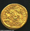 Ancients:Byzantine, Ancients: Justin II, 565-578 A.D., AV solidus (4.48 gm.),Constantinople mint. Facing military bust holding shield, sceptretopped wit...