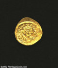 Ancients:Byzantine, Ancients: Phocas, 602-610 A.D., AV solidus (4.49 gm.),Constantinople mint. Facing bust, draped, cuirassed, wearing crown,holding sma...