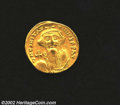 Ancients:Byzantine, Ancients: Constans II, 641-648 A.D., AV solidus (4.28 gm.),Constantinople mint. Facing bust of emperor with long beard holdingglobus...
