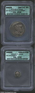 Ancients:Greek, Ancients: Athenian Greek Silver coins, A pair of Athenian owlsprofessionally graded in VF condition.... (Total: 2 coins Item)