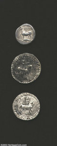 Ancients:Greek, Ancients: Greek Silver coins, a three coin lot of Greek silvercoins grading VF or better. ... (Total: 3 coins Item)