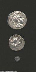 Ancients:Greek, Ancients: Greek Silver coins, a three-coin lot which includes alater Athenian Owl tetradrachm in AVF-VF condition.. From theJohn L... (Total: 3 coins Item)