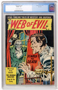 Golden Age (1938-1955):Horror, Web of Evil #18 River City pedigree (Quality, 1954) CGC FN/VF 7.0Off-white to white pages....