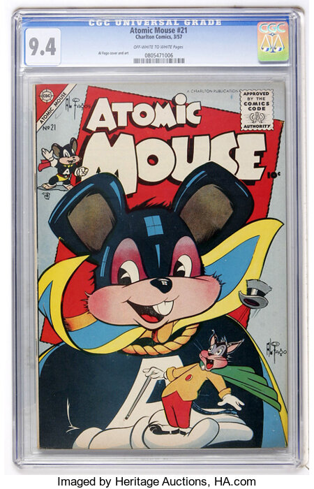 Atomic Mouse #21 (Charlton, 1957) CGC NM 9.4 Off-white to white pages....