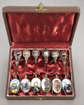 Political:3D & Other Display (1896-present), Abraham Lincoln: Set of Six Enameled Souvenir Spoons....