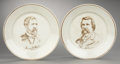 Political:3D & Other Display (pre-1896), Blaine & Logan: Pair of Campaign Plates... (Total: 2 Items)