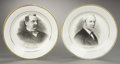 Political:3D & Other Display (pre-1896), Cleveland & Hendricks: Pair of Portrait Campaign Plates... (Total: 2 Items)