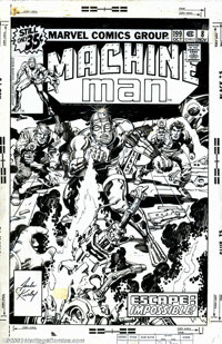 Jack Kirby and Mike Royer - Original Art for Cover and Complete 17-page Story for Machine Man #8 (Marvel, 1978). Thinkin...