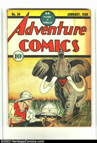Adventure Comics #34 (DC, 1938) Condition: VG+. Light tan to cream pages. This is an extremely nice and solid book. Ther...
