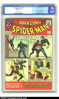 Amazing Spider-Man #4 (Marvel, 1963) CGC FN/VF 7.0 Off-white pages. Origin and first appearance of the Sandman; Steve Di...