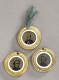 Political:Ferrotypes / Photo Badges (pre-1896), Breckinridge, Bell, and Douglas: Pristine Set of Three of the Four1860 Presidential Tickets in Most Unusual Brass Shells.... (Total:3 Items)