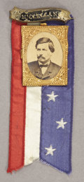Political:Ferrotypes / Photo Badges (pre-1896), George McClellan: Superb 1864 Campaign Badge....