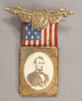 Political:Ferrotypes / Photo Badges (pre-1896), Abraham Lincoln: Larger Size 1864 Portrait Campaign Badge....