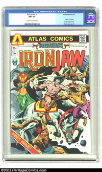 Barbarians #1 (Atlas-Seaboard, 1975) CGC NM 9.4 Off-white to white pages. Overstreet 2002 NM 9.4 value = $6