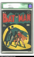 "Batman #9 (DC, 1942) CGC Qualified VG- 3.5 Cream to off-white pages. CGC notes ""Incomplete; 15th page out, does not..."