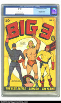 Golden Age (1938-1955):Superhero, Big 3 #1 (Fox, 1940) CGC G+ 2.5 Off-white to white pages. This is atight copy of an early Golden age comic featuring Blue B...