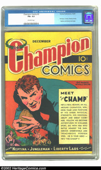 Champion Comics #2 (Harvey, 1939) CGC FN+ 6.5 Off-white pages. Although this book is #2, it is actually the first issue...