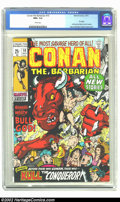 Bronze Age (1970-1979):Superhero, Conan The Barbarian #10 (Marvel, 1971) CGC NM+ 9.6 White pages. Overstreet 2002 NM 9.4 value = $65....