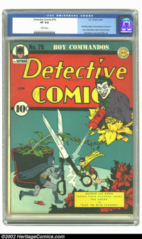 Detective Comics #76 (DC, 1943) CGC VF 8.0 White pages. Jerry Robinson's imaginative cover has miniaturized Batman and R...