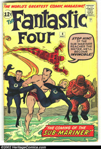 Fantastic Four #4 (Marvel, 1962) Condition: GD+ Signed by Jack Kirby. Signed by Jack Kirby on the splash page. 1st appea...
