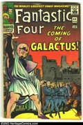 Silver Age (1956-1969):Superhero, Fantastic Four #48 (Marvel, 1966) Condition = VG-. First appearance of Silver Surfer. Overstreet 2002 GD 2.0 value = $78; FN...