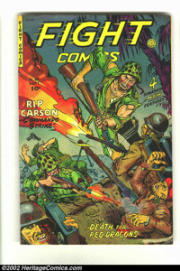 Fight Comics #82 (Fiction House, 1952) Condition = VG. Great war comic with flamethrower cover. See the Commies get thei...
