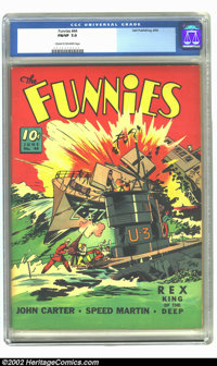 Funnies #44 (Dell, 1940) CGC FN/VF 7.0 Cream to off-white pages. Fantastic U-Boat cover way before WE got into the war...