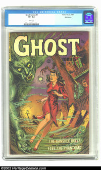 Ghost Comics #1 Bethlehem pedigree (Fiction House, 1951) CGC VF- 7.5 White pages. A beautiful book with a stunning cover...