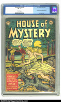 "Golden Age (1938-1955):Horror, House of Mystery #1 (DC, 1952) CGC FN 6.0 Off-white pages. DC'sfirst horror comic features the cover story ""Wanda Was a Wer..."