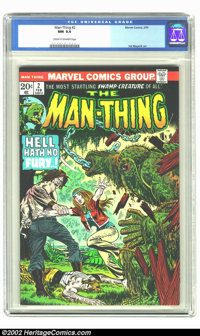 Man-Thing #2 (Marvel, 1974) CGC NM 9.4 Cream to off-white pages. Overstreet 2002 NM 9.4 value = $18