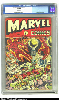 Marvel Mystery Comics #57 (Timely, 1944) CGC FN- 5.5 Off-white pages. What a great bondage cover by Alex Schomburg! Only...