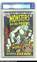Bronze Age (1970-1979):Horror, Monsters on the Prowl #14 (Marvel, 1971) CGC NM 9.4 Off-white towhite pages. Overstreet 2002 NM 9.4 value = $22....