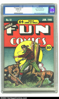 More Fun Comics #51 Mile High pedigree (DC, 1940) CGC VF/NM 9.0 White pages. This final pre-hero issue of the series int...