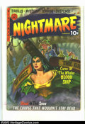 Golden Age (1938-1955):Horror, Nightmare #1 (Ziff-Davis, 1952) Condition = GD/VG. Classic cover byJoe Kubert. Scarce precode horror. Some splitting at the...