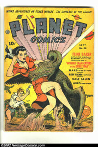 Planet Comics #20 (Fiction House, 1942) Condition = Apparent VG-. Restoration includes: spine reinforced and staples rei...
